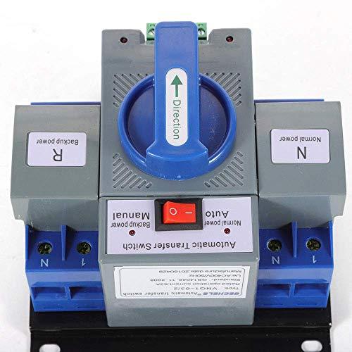 JONASC 63A 2P Dual Power Automatic Transfer Switch 110V Generator Changeover Switch 50HZ 60HZ