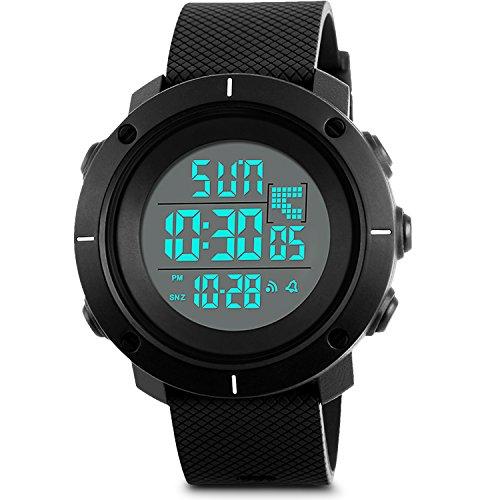 aposon Hombres Militares de la Digital reloj deportivo LED Back Light simple relojes Casual al aire libre impermeable electrónico cronómetro alarma del Ejército reloj de pulsera–banda de color negro