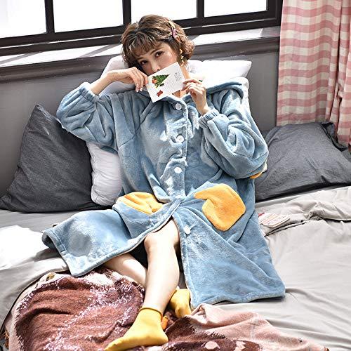 Weiches Nachthemd mit Kapuze für Damen, Dicker Pyjama aus Korallensamt, Lange, warme Bademäntel, süße und schöne Hauskleidung, eine Vielzahl von Styles, A16 M