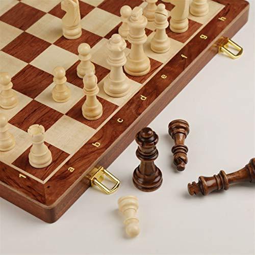 QIFFIY Schachspiel Holzschach, faltbares Schach-Set-Brett mit tragbarem Folding-Innenraum-Travel-Schachspiel-Spiel Schach (Größe : 39cm)