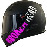 Broken Head BeProud Matt-Schwarz & Pink - Motorradhelm Mit Schwarzem Zusatz-Visier - Größe M (57-58 cm)