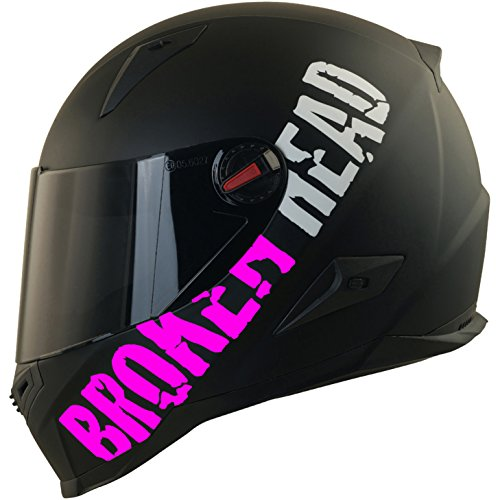 Broken Head BeProud Matt-Schwarz & Pink - Motorradhelm Mit Schwarzem Zusatz-Visier - Größe S (55-56 cm)