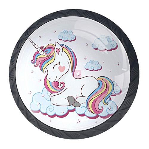 Xingruyun Pomos para Cajones Cute Dibujos Animados Unicornio Muebles De Habitación Infantil Pomos Decorativos para Habitación De Los Niños,Armarios,Cajones 4 Pcs 3.5x2.8cm