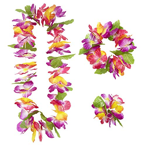 Widmann 9136W - Hawaii Set Maui, 3-teilig, Kette, Armband, Kopfschmuck, Blumenkranz, Blüten, Beachparty, Mottoparty, Karneval