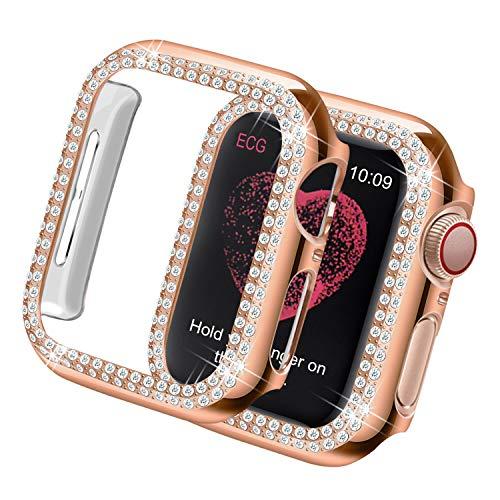 Yolovie Kompatibel für Apple Watch Hülle 44mm Series 5 Series 4, Harter PC Bling Gehäuse mit glitzernden Strass-Steinen in Diamant Gestell Schutzhülle Stoßstange Frauen für iWatch (Boppelt Rosé Gold)
