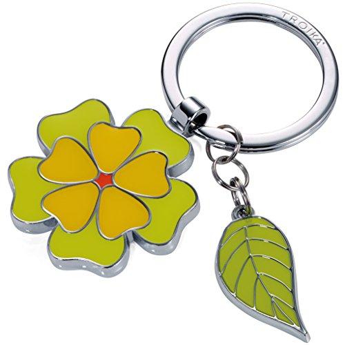 TROIKA Fleur - KR17-06/GR - Schlüsselanhänger mit 2 Anhängern - Blume, Blatt - Frühling - floral - weiblich - glänzend - grün - Das ORIGINAL