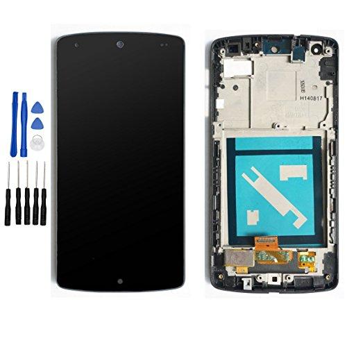 ixuan LG Google Nexus5 D820 D821 専用 修理交換用キット LCD液晶ガラスデジタイザスクリーン+タッチパネル フルLCD ブラックベゼルフレーム付き (フロントガラスデジタイザ) 修理パーツ修理工具付き ブラック