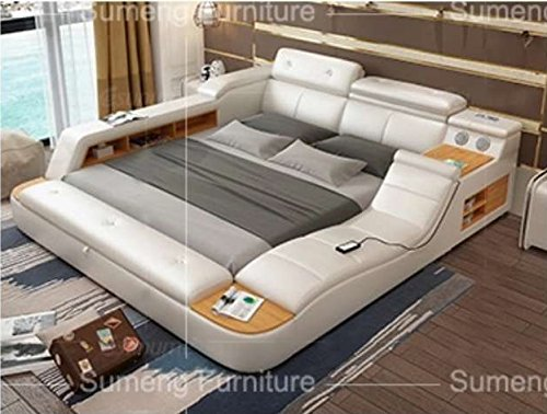 All-in-One Leather Double Bed with Speakers Storage Safe Perfect Relaxation N (White)