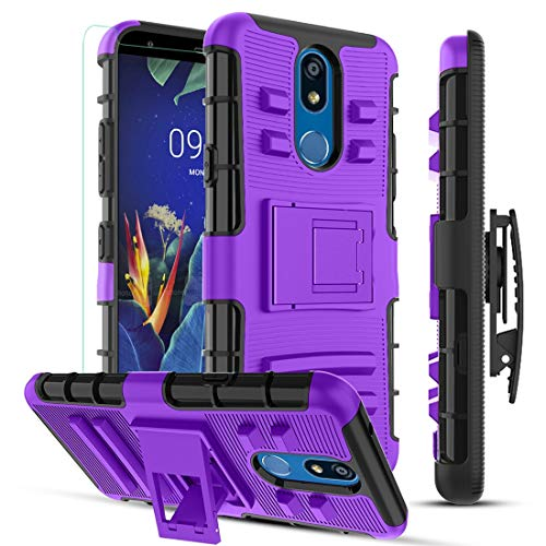 MMDcase LG K40 Case,LG K12 Plus/LG X4 2019/LG Solo LTE Phone Case/Tempered Glass Screen Protector,[Built-in Kickstand & Belt Clip Holster] Dual Layer Heavy Duty Shockproof Protective Cover,PC Purple