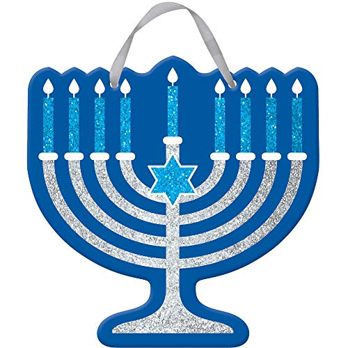 amscan Festive Hanukkah Blue Glitter Menorah Sign | Party Decoration