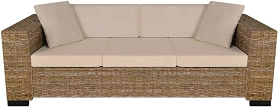 Festnight 8 Piece 3 Seater Sofa Seat Cushion and Pillow Sofa Set Living Room Furniture Real Rattan