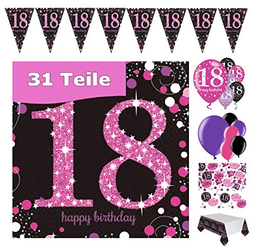 Feste Feiern Geburtstags-Deko 18. Geburtstag 31 Teile Party-Set Luftballon Wimpel Girlande Konfetti Serviette Tischdecke Pink Schwarz Lila metallic Happy Birthday 18