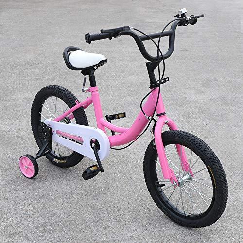 DIFU 16 Zoll Kinder Fahrrad Jungen Mädchen Fahrrad Balance Stabilisatoren Stahl Anti-Rutsch Hilfsrad Kinderfahrrad für Mädchen ab 4-8 Jahre Rosa
