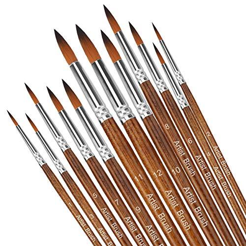 Pinsel teiliges Set,Nylon Pinsel, Nylonhaar Künstler Acrylpinsel für Acryl Aquarell Ölgemälde (braun) (braun)