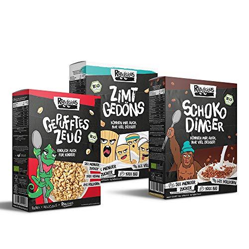 Rebelicious Bio Cornflakes Frühstückspaket 3er Mix-Probierpaket: 1 x GEPUFFTES Zeug, 1 x SCHOKO Dinger & 1 x ZIMT Gedöns, 825 g
