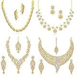 Sukkhi Sparkling Gold Plated Wedding Jewellery Austrian Diamond Set of 4 Necklace Combo