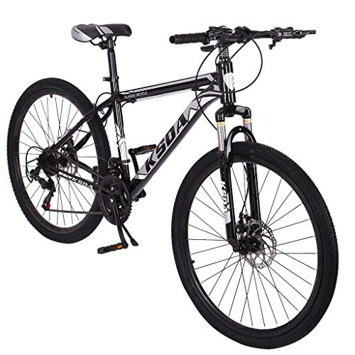 GHGH 26in Mountain Bike, Full Suspension Road Bikes with Disc Brakes, 21 Speed Dual Disc Brakes Steel Frame MTB Bikes for Men/Women