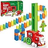 LONEEDY 90 Stück Kinder Domino Zug, Weihnachtsmann Zug blockiert Rallye Elektrospielzeug Set, Bauen und Stapeln von Spielzeug für 3-7 Jahre alt, Weihnachten