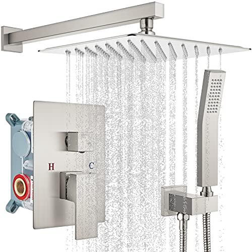 gotonovo 10' Rain Shower System Brushed Nickel...