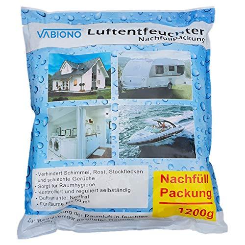 VABIONO Luftentfeuchter Nachfüllpack 1,2kg Vliesbeutel Granulat für Raumentfeuchter zum Nachfüllen (12 x 1,2kg Nachfüller-Granulat)