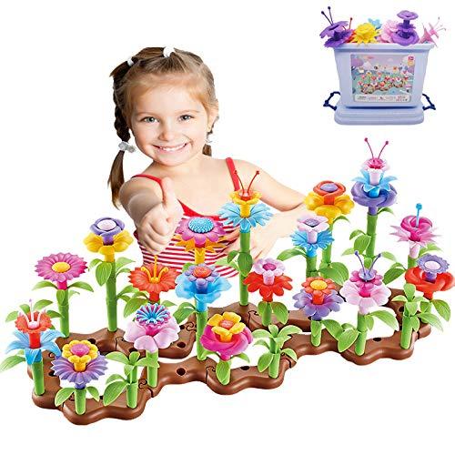 mom&myaboys- 104 PCS Creative Flower Garden Building Toys Set, DIY Insert Block Arts and Crafts for Kids Ages 3+, Build a Bouquet Floral Arrangement Playset-Best Educational Toys