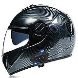 Casco De Moto con Bluetooth, Cascos Modulares Delanteros Abatibles para Moto, Casco De Ciclomotor Scooter Integral con Visera Antivaho Doble para Hombres Y Mujeres, Certificado Por Dot/Ece,C,XL