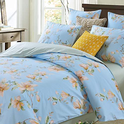 Softta Shabby Floral Luxury Magnolia Flower Pattern Print Design Queen Size 3Pcs Duvet Cover Set(1 Duvet Cover+ 2 Pillowcases 800 Thread Count 100% Egyptian Cotton