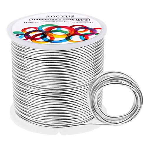Aluminum Jewelry Craft Wire 12 Gauge 100 Feet, Anezus Silver Beading Wire Metal Bendable Sculpting Wire for Crafts Jewelry Making Beading Floral (Silver, 2mm)