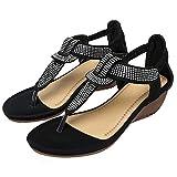 JXILY Sandalias Casuales, Sandalias de Cuña con Cara de Purpurina Bohemia Zapatos de Mujer de Moda Flip-Toe Zapatos de Playa Zapatos de Verano Mujeres,Negro,36