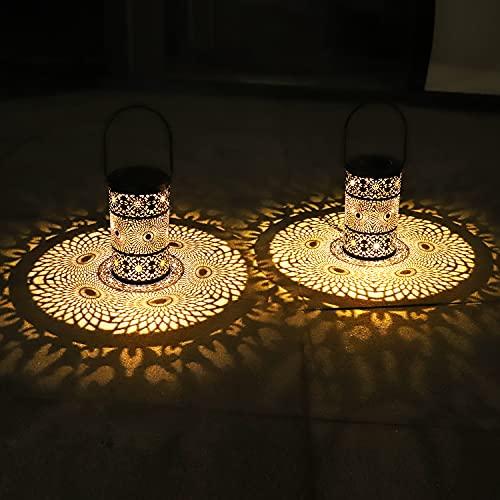 2 Piezas Farolillos Solares Exterior,Luces de Hierro Forjado de Jardin,Iluminación de...