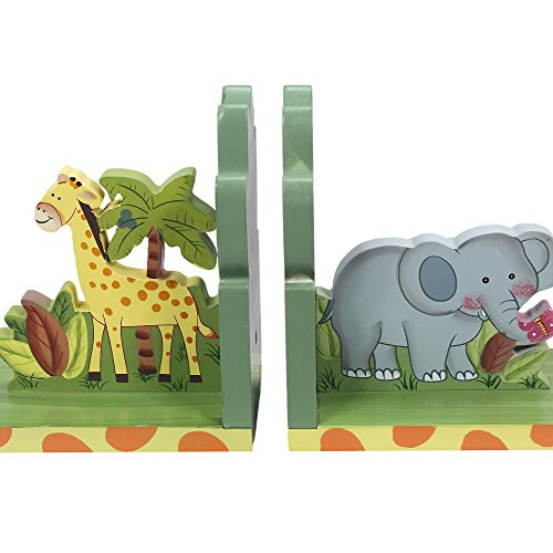 Fantasy Fields Sunny Safari Animals Themed Hand Crafted & Hand Painted Bookends for Kids, Set of 2