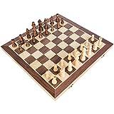 MNBV Tablero de ajedrez de Madera Hecho a Mano, Tablero de ajedrez de Madera, Juego de ajedrez de Madera Plegable 30x30 / 40x40 con Caja de Almacenamiento, Tablero de ajedrez con Grandes