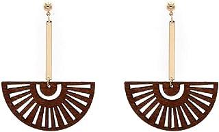 Tiande Fashion Wood Dangle Earrings Fan-Shaped Bamboo Needle Earrings Bohemian Personality Jewelry for Women Girls Mother's Day Gift