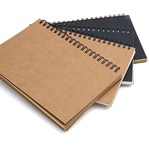 YOFO Skizzenbuch im Retro-Stil, Spiralbindung, Notizbuch, unbeschriebene Seiten, Kraftpapier auf dem Einband, Kraftpapier auf den Innenseiten, kreatives Notizbuch