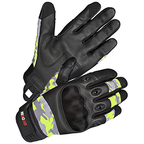 SKYDEER Premium Genuine Leather Military Tactical Gloves for Motorcycle, Shooting, Paintball, Airsoft and Combat Training (Camo, Large)
