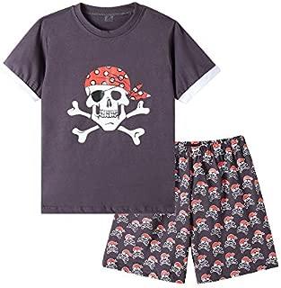 Image of Cotton Pirate Skull Boys Short Sleeve Pajamas - See More Skull PJ Sets