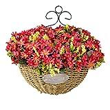 Topdo - 1 flor artificial con cesta de flores para colgar en la pared, decoración de...