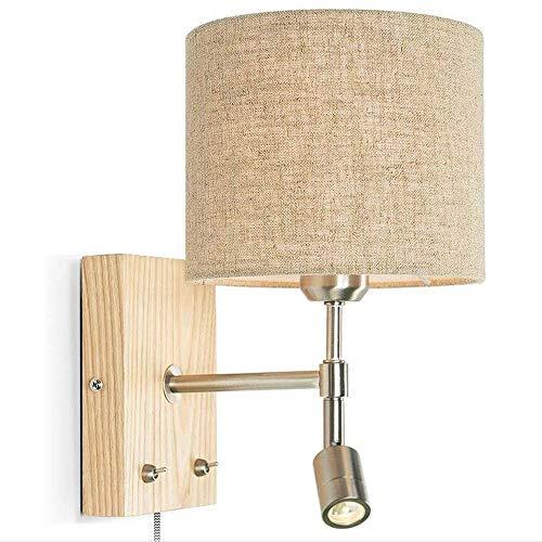 WHKHY Commodité Illuminateation Linge Simple et Moderne à l'ombre des Lampes de Lecture en Bois et de l'art. Applique Murale Le lit l'armature de la Chambre à Coucher Murale (2 Styles),#1