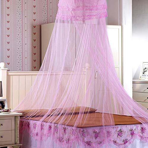 Moskitonetz Bett, Prinzessin Moskitonetz Mückennetz für Reise und Zuhause, Moskitonetz Bett Insektennetz Betthimmel für Doppelbett & Einzelbett, inkl. Klebehaken, Höhe 260 cm (Rosa)