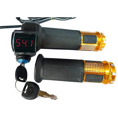 Pair 48V E-Bike Electric Scooter Throttle Grip Handlebar Screen Digital Meter
