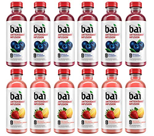 LUV-BOX Variety BAI ANTIOXIDANT Juices pack , pack of 12 , 18 fl oz , INFUSION BRASILIA BLUEBERRY ,INFUSION SAO PAULO STRAWBERRY LEMONADE