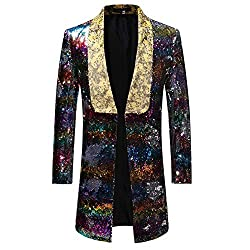 Picture Color 1 Slim Fit Shiny Sequin Blazer