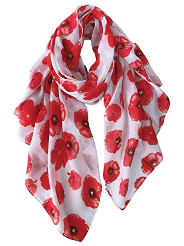 GERINLY – Lightweight Poppy Flower Print Oblong Scarf (White)