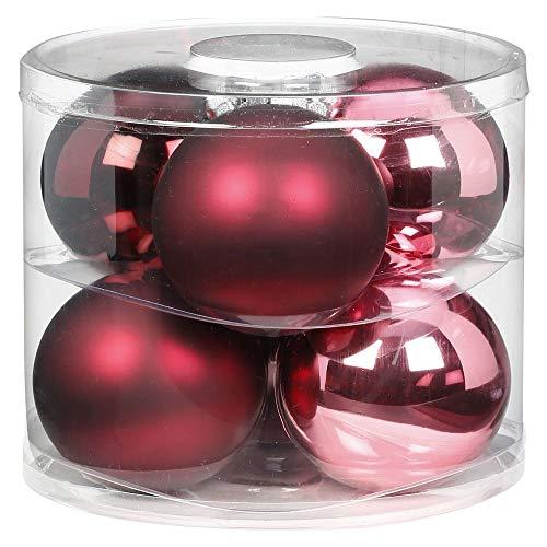 MAGIC Weihnachtskugeln Glas 10cm 6 STK. Christbaumkugeln Christbaumschmuck Farbe: Berry Kiss (Beere Glanz/matt)