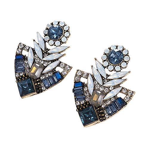 strimusimak Pendientes De Moda con Diamantes De Imitación, Pendientes Bohemios, Colgantes Exagerados para Mujeres, Regalos De Joyería para El Día De La Madre Azul