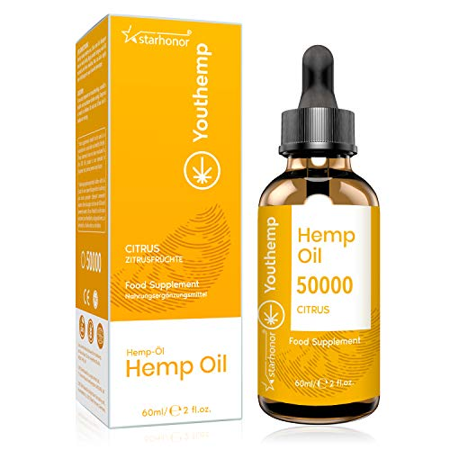 Hemp Seed Oil (Citrus) with 2020 New Formula, High Strength, Vegan Friendly, Natural Source of Omega 3, 6, and 9 (50000mg/60ml)