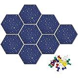 Uoisaiko Tablón de anuncios hexagonal de fieltro con 20 pines, paquete de 8 tableros de anuncios autoadhesivos para el hogar, oficina, cocina, DIY Pin Board azulejos de pared para fotos y notas