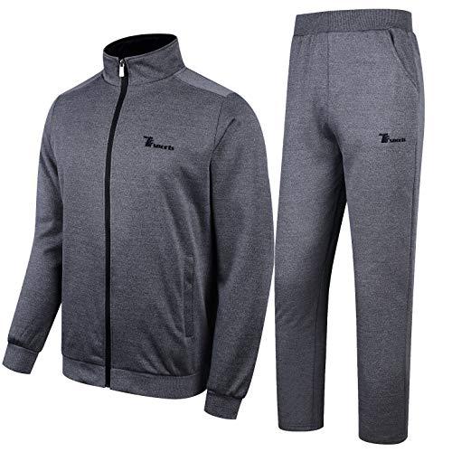 Rdruko Men's Casual Tracksuit Long Sleeve Running Jogging Athletic Outfit Sports Set(Dark Grey, US XL)
