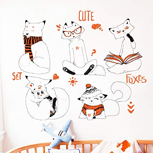 SJXWOL Stickers muraux Cartoon Fox Animal Sticker Mural Mignon Chambre des Enfants Pépinière Adhésif Murale Stickers Home Salon Fond Décor Affiche
