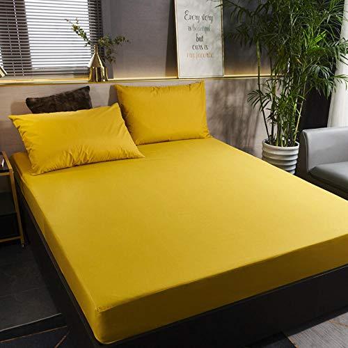 GmanXier Sábana Ajustable Impermeable cepillada de Color Puro, Individual, Doble, King, colchón, protección, sábana, sábana-CEl 120 * 200cm